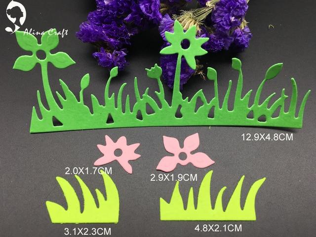 Metal Cutting Dies 5pc Grass Straw Flower Spring Garden Vacation