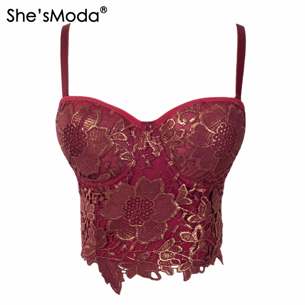 She'sModa Gilding Embroidery Lace Push Up Women's Bustier Corset Wedding Party Cropped Top Vest Plus Size