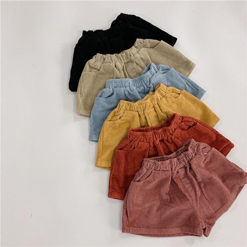 2-7 Jahre Kinder Jungen Hosen Mini Länge Shorts Candy Farbe Mädchen Kinder Frühling Grundlegende Einfache Shorts Hosen Baumwolle & Cord