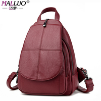 MALLUO Brand Backpacks High Quality PU Leather Women Bags Preppy Style Schoolbags For College Students Travel