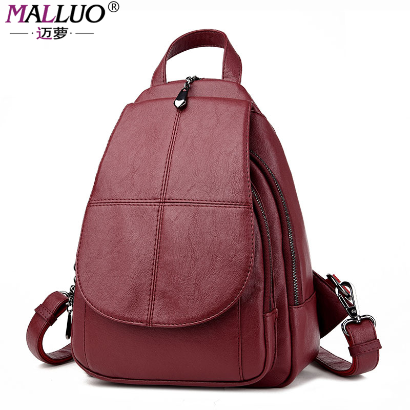 MALLUO Brand Backpacks High Quality PU Leather Women Bags Preppy Style Schoolbags For College Students Travel New Arrive Hot preppy style brand new design women fashion backpacks vintage rivet leather waterproof shoulder bags travel escolar bolsas cc28