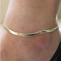 1PC Fashion women gold silver snake chain ankle bracelet foot jewelry charms barefoot sandals bracelets Gift
