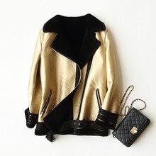 Real Fur Coat Natural Fur Shearling Motor Jacket for Women Real Lamb Wool Coat with Faux Leather  rf0026
