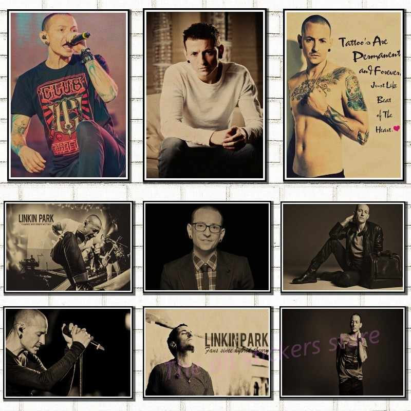 Il trasporto libero, Nostalgic Rock Band Linkin Park Chester Bennington Charles/carta kraft/Cafe/bar manifesto/Retro Poster/6033