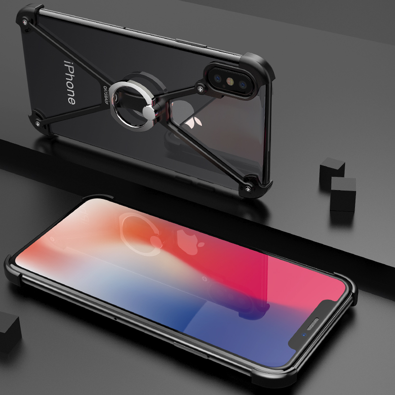 OATSBASF X Shape case For iPhone X Personality Shell for iPhone X Case Metal Bumper case For iPhoneX With Gift Glass Film
