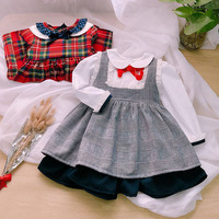 6414 Preppy Plaid Princess Baby Girls Clothing Set 2P: Top T shirt + Strap Dress Wholesale Autumn Fall Baby Girls Clothes 6P Lot