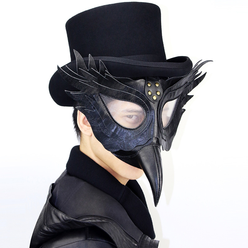 Men /Women Black PU Leather Steampunk Wings Mask Anime Props Cosplay Plague Bird Beak Doctor Gothic Punk Mask Halloween Gift