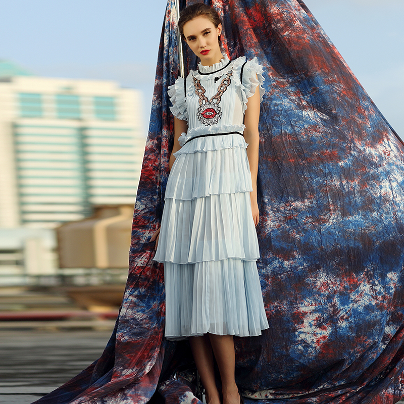 Casual Dress 2018 New Fashion Sleeveless Sequined High Street Summer Luxury Pleat Blue Elegant Designer Dress