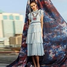 Casual Dress New Fashion Sleeveless Sequined High Street Summer Luxury Pleat Blue Elegant Designer Dress