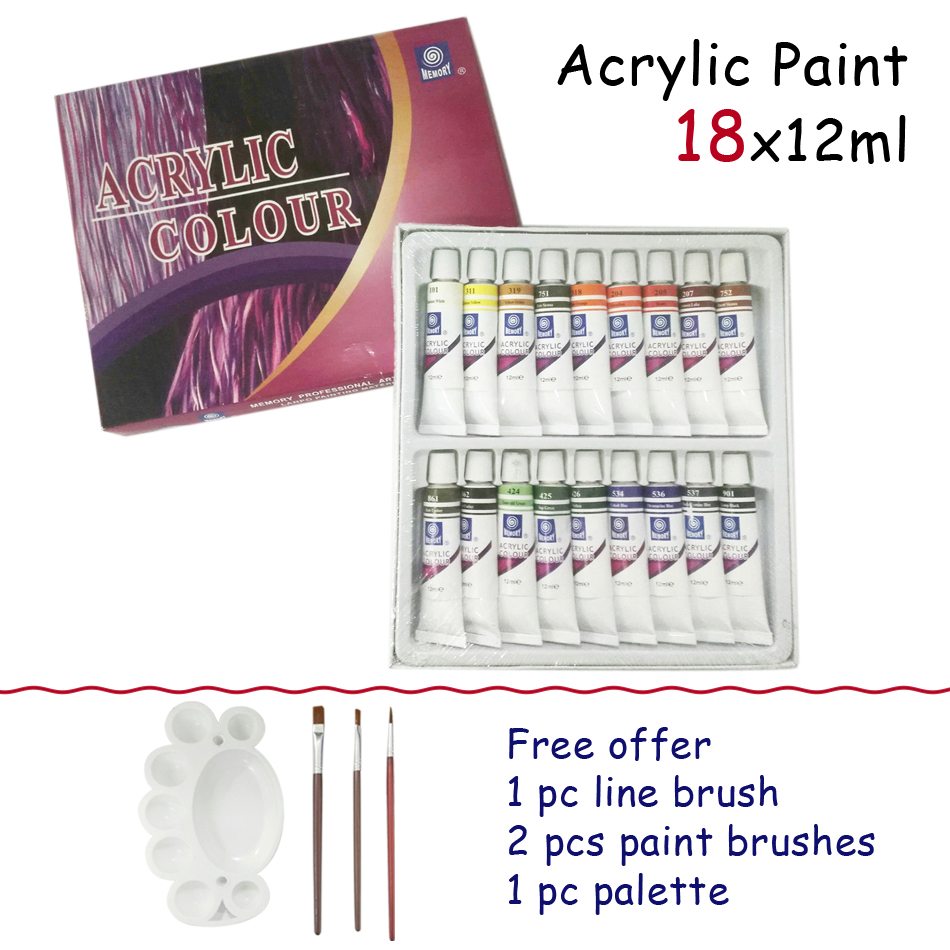 Free Brushes Hot Sale Art Nail Painting Drawing For Teaching The Artists Child Kids Acrylic <font><b>Paints</b></font> Tube Set 18 Colors