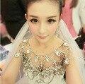 Высокое Качество Корейских Супер Сверкающих Полный Кристалл Люкс Ожерелье Плеча Цепи Аксессуары Для Невесты