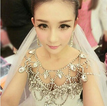 High Quality Korean Super Shinning Full Crystal Bridal Necklace Shoulder Chain Accessory For Bride