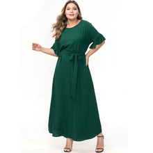 Summer New Fashion Large Size Muslim Middle East Women Long Dress Ruffle Sleeve O-neck Loose Ladies Plus with Belt