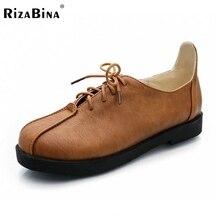 RizaBina 2016 New Women's Ballet Flats Casual Shoes Lace Up Women Vintage Shoes Round Toe Sapatos Femininos Sapatilha Size 34-43