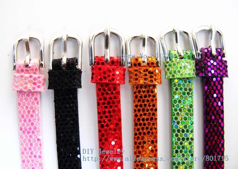 1pc פאייטים עור מפוצל נצנצים צמיד צמיד צבעוני DIY אבזר 8mm רחב 21cm אורך fit 8mm שקופיות קסם כמתנה