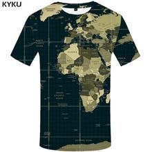 KYKU World Map T-shirt Men Retro Tshirt Hip Hop Tee Punk Rock Clothes Anime 3d Print T Shirt Gothic Mens Clothing Streetwear Top