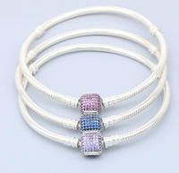2017 Authentic 925 Sterling Silver Sparkling Clear Zircon 3 Colors Bracelet Charm European Brand Style Bracelet