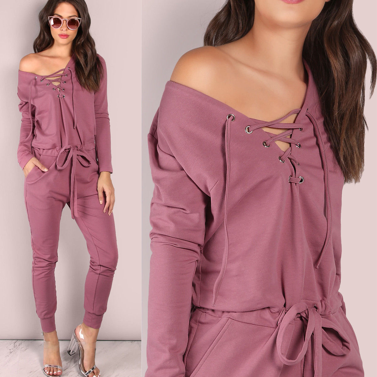 b20d3140b1c HIRIGIN Brand New Fashion Jumpsuits Girls Women Casual Long Sleeve Bodycon  Lace Up Romper Jumpsuit Club Bodysuit Long Pants-in Jumpsuits from Women s  ...