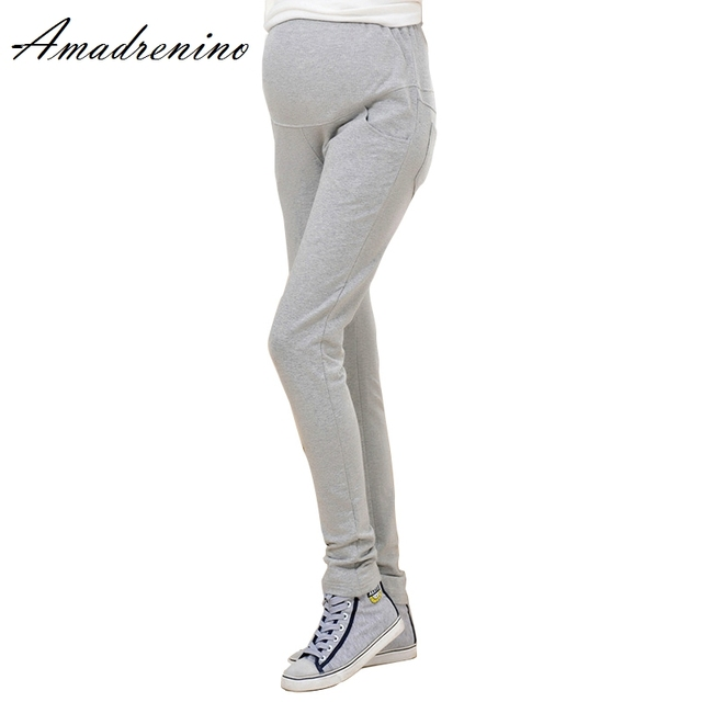 Amadrenino Spring Fashion Women Maternity Long Pants Casual High Waist Pencil Legging Skinny Women Pregnant Mother GreyTrousers