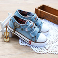 Llegó el nuevo tamaño 25-37 niños shoes de lona para niños zapatillas niños jeans pisos girls botas de denim side zipper shoes