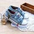 New chegou tamanho 25-37 crianças shoes de lona dos miúdos das sapatilhas dos meninos flats meninas botas denim jeans zíper lateral shoes
