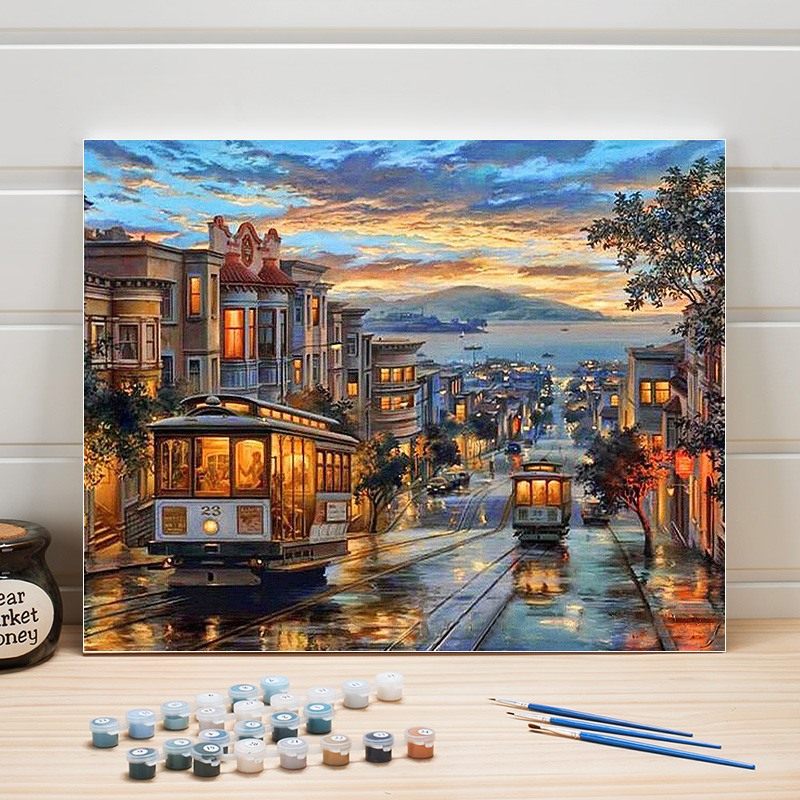 Paint Painting By Number City Street Scenery Classical DIY Acrylic Color Art On Canvas Wall Pictures For Living Room Adults Draw