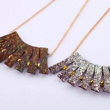 Gris marrón geométrico abanico forma mujeres collar con dije grande moda barato Vintage collar al por mayor