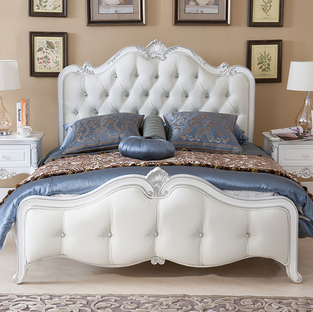 Factory direct bed wood bed double bed 1.5 1.8 m bed leather bedroom ...