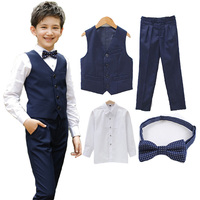 Boys Vest Clothing Set Vest Shirt Pant Tie Children Wedding Prom Suits Piano Performance Costume Chorus