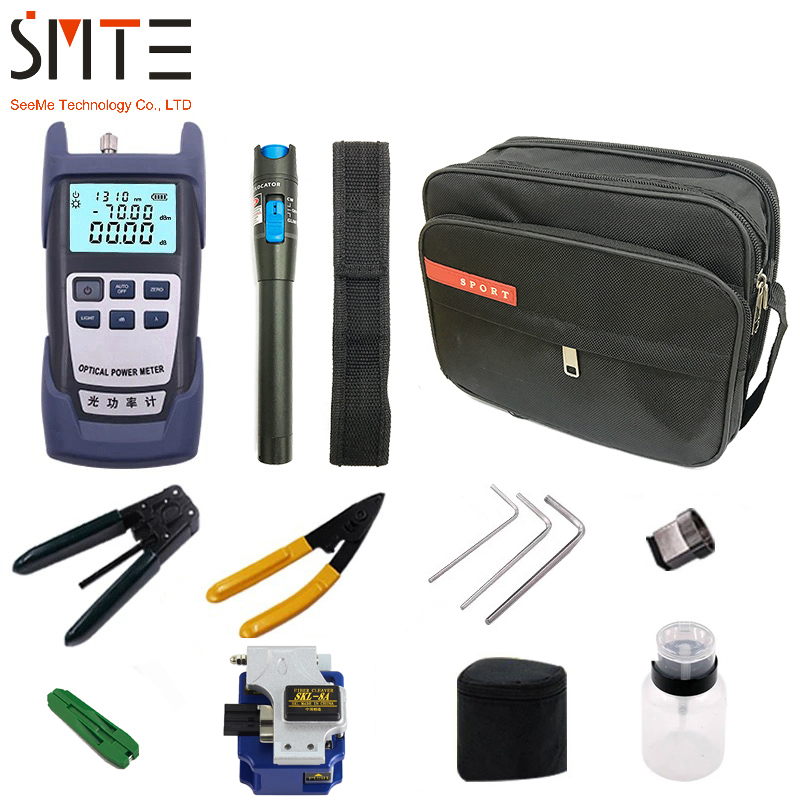 Kit de Ferramentas De Fibra Óptica FTTH pçs/set 12 com SKL-8A Fiber Cleaver e Power Meter Óptico 5 km Localizador Visual de Falhas descascador de fios