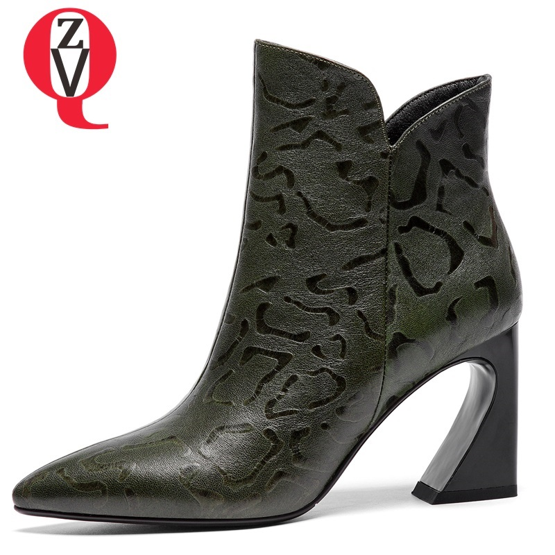 ZVQ 2018 new hot sale high quality genuine leather shoes women super high square heel pointed toe zip winter warm office booties zvq 2018 winter hot sale new fashion square toe zipper high square heel genuine leather women ankle boots outside warm shoes