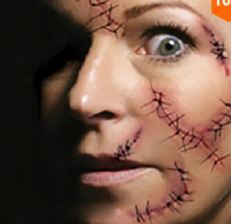 3 pcs free shipping face mask emulational original design waterproof fake wound scar tattoo sticker for - Halloween Fake Wounds