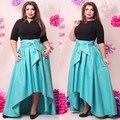 Bkld dress 2016 nuevo otoño mujeres de gran tamaño irregular del dobladillo más tamaño largo elegante dress del partido de tarde maxi dress vestidos xl-6xl