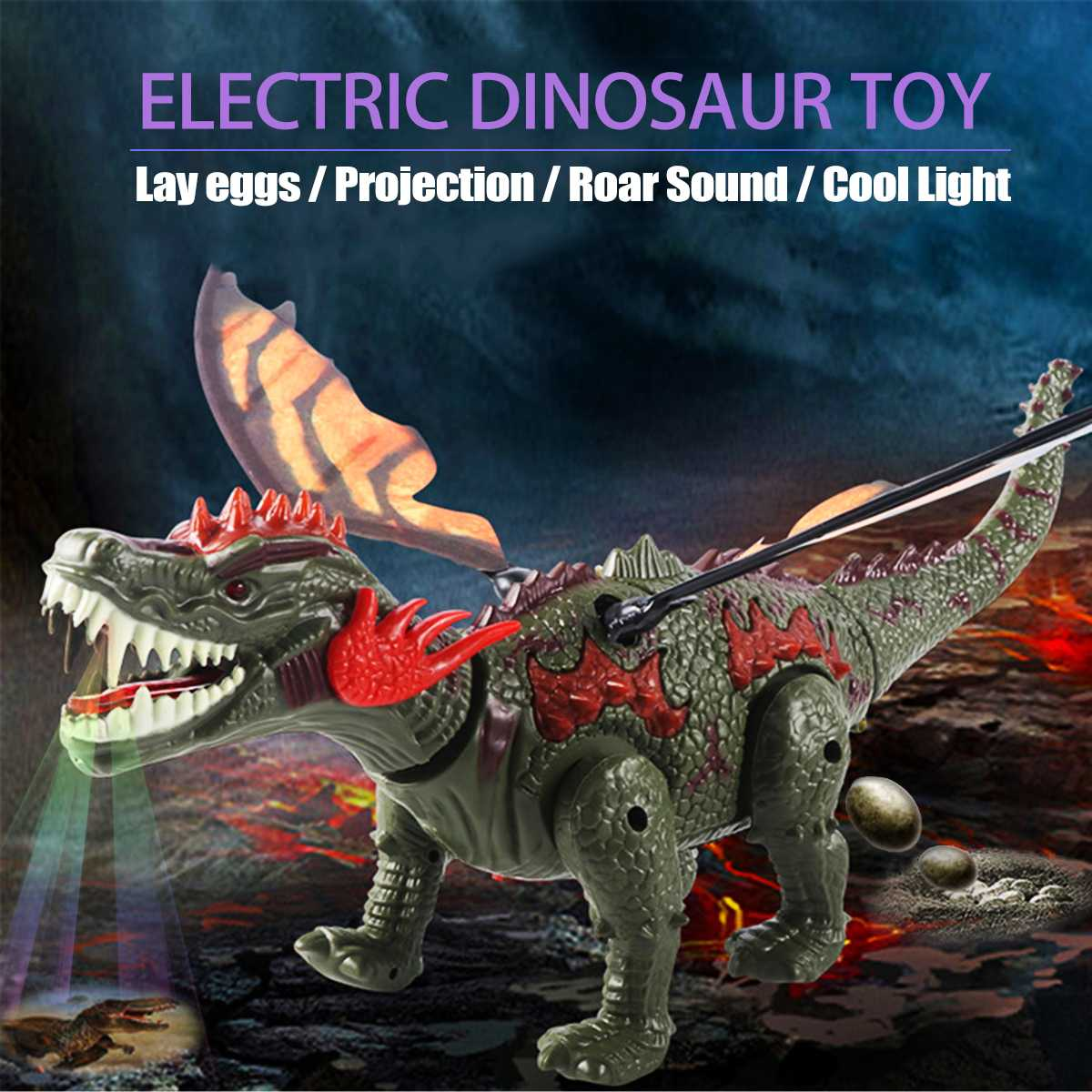 Electric Walking Dinosaur Toy With Wing Lay Eggs Projection Electric Dinosaur Colorful Lights Roar Sounds Kids Enlightening Toy