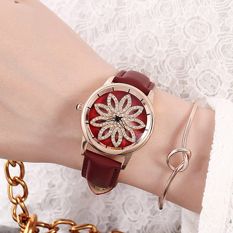 New GUOU lady Crystal Rotation Watch Women Luxury Leather Strap Dress Watch Fashion Rose Gold Watches Female Quartz Wristwatches все цены