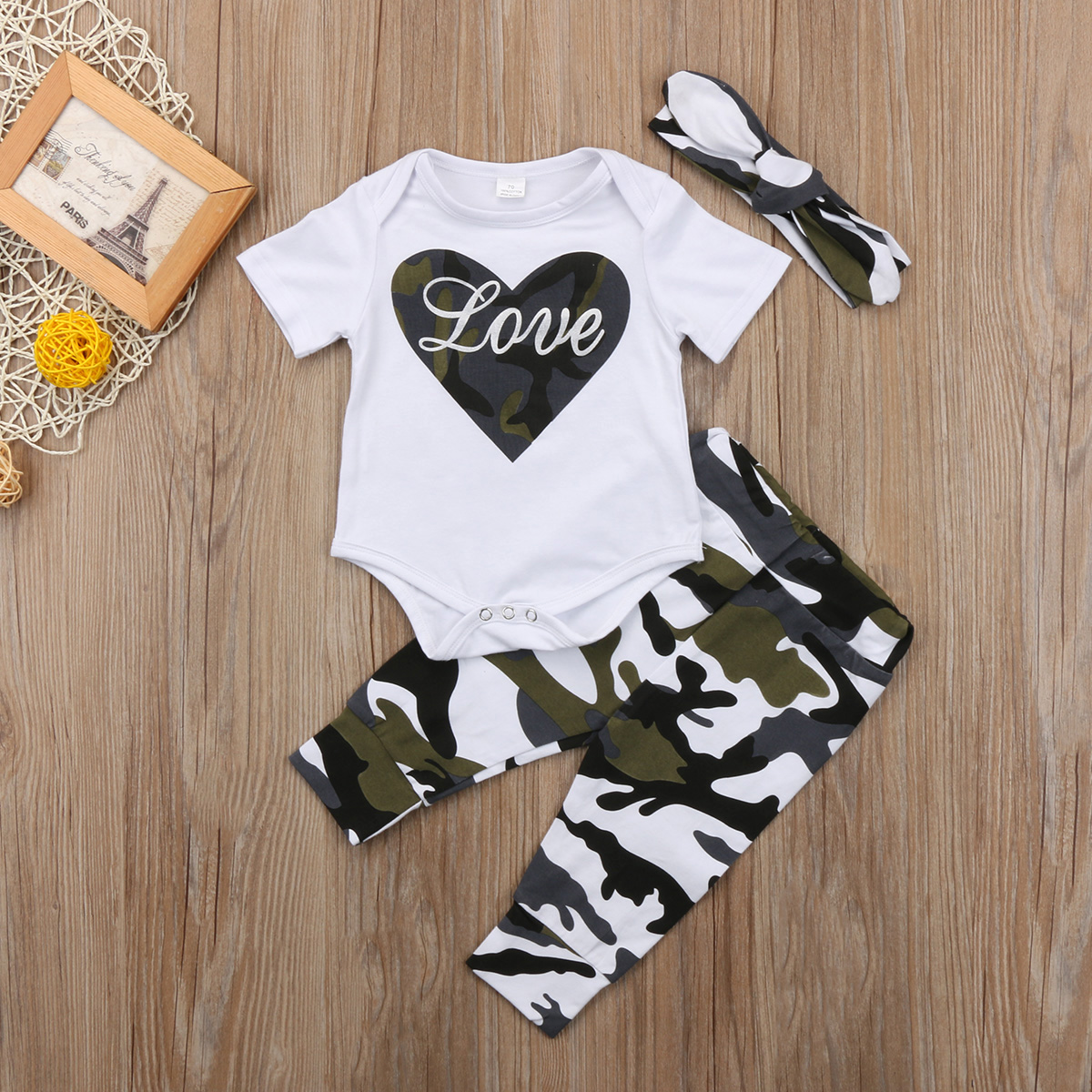 Pudcoco Hot Sale Cute Newborn Toddler Baby Girls 0-18M Short Sleeve Camouflage Bodysuits+Pants+Headband Outfits Sets 3PCS
