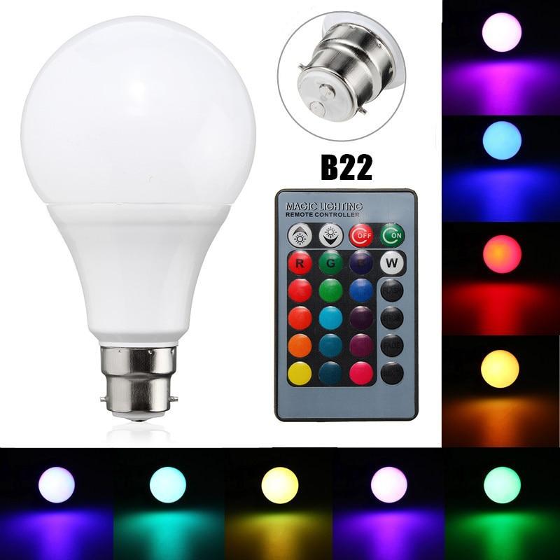 RGB LED Light Bulb B22 5W 10W Color Changing Spotlight Globe Bulb Energy Saving Lamp With 24 Keys Remote Control AC85-265V rgb 10w led bulb e27 e14 ac85 265v led lamp with remote control led lighting multiple colour