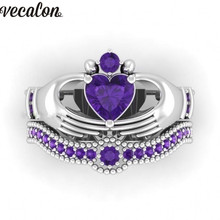 Vecalon Lovers 5 Colors Birthstone claddagh ring 5A Zircon Cz White gold filled Engagement wedding Band ring Set for women men