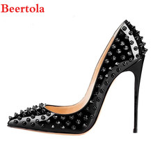 d38cd60a5090 Beertola Stylish 10 12cm Black Rivets Woman Shoes Patent Leather Pointed  Toe Wedding Party Shoes High Stiletto Women Pumps Tacon