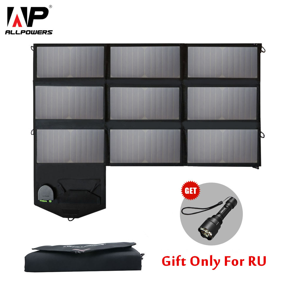 ALLPOWERS 60W Phone Charger 5V 12V 18V Portable Foldable Solar Panel Charger Pack for iPhone 6