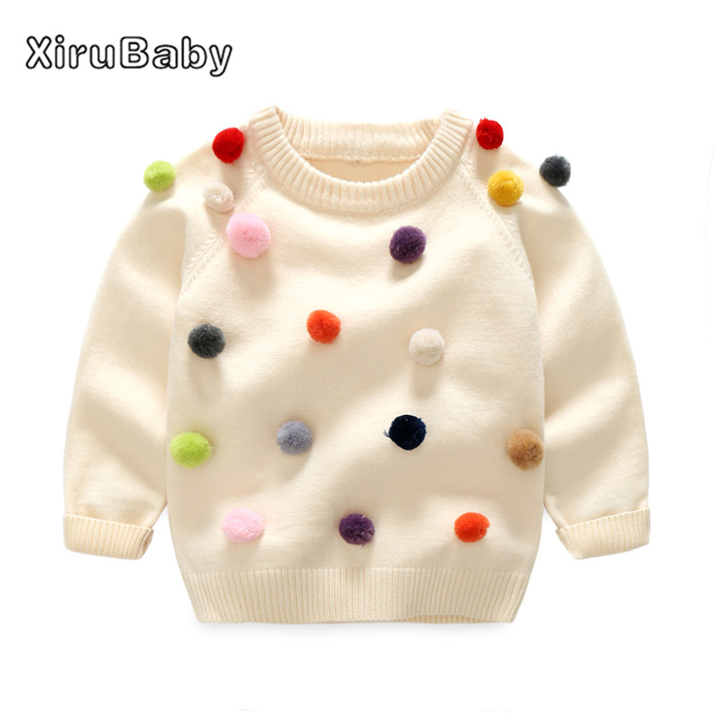 xirubaby 2017 winter kids sweater balls design baby knitted cardigans  casual toddler boys sweater woolen fleece