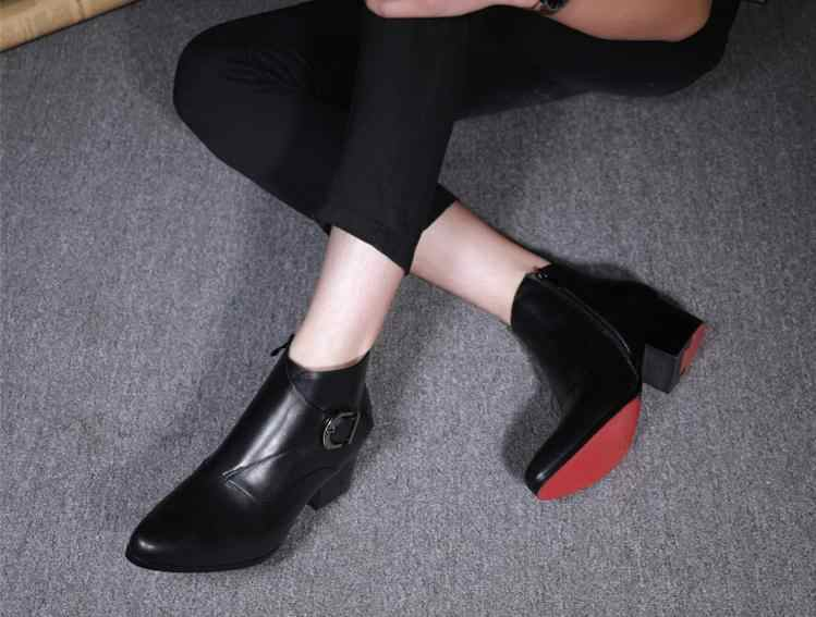 65aa1ec4b50e ... New autumn winter mens pointed toe high heels genuine leather boots  shoes men fashion buckle red ...