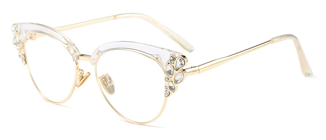 f5aae0359b Peekaboo rhinestone cat eye glasses frames for women brand designers 2018  luxury sexy eyeglasses cat eye black