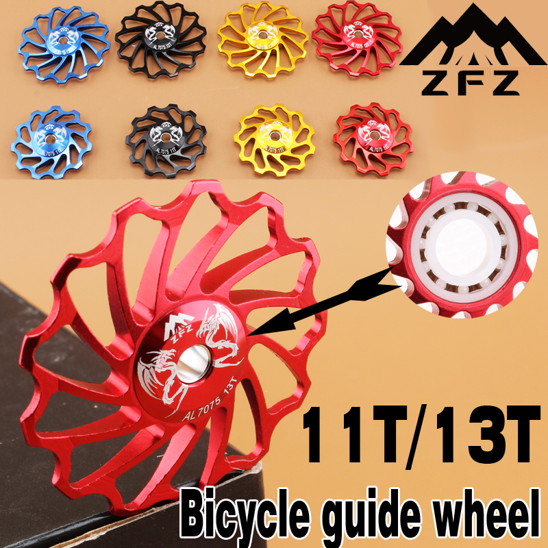 MUQZI Cykel Keramisk Guide Remskive 7075 Aluminium Alloy Bag Derailleur 11T / 13T MTB Road Bike Guide Keramik Bearing Jockey Wheel