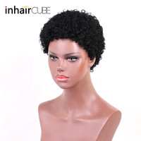 Esin Mixed Hair Wigs 30% Syntheitic Hair + 70% Natural Hair for Women Afro Short Kinky Curly Wigs African American Women