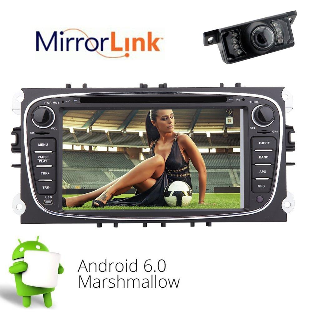 2 din 1024*600 Android 6.0 Quad Core Car DVD Player GPS Navi for Ford Focus Mondeo Galaxy with Audio Radio Stereo Head Unit RDS