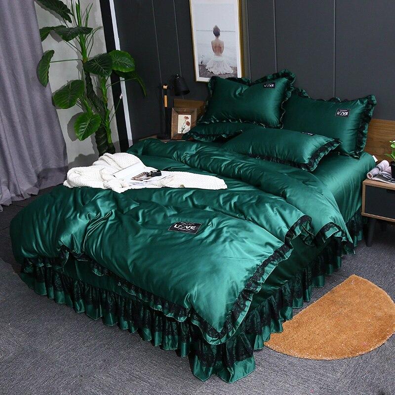 Ensembles de literie Satin 3 4 pièces Style princesse linge de lit housse de couette taie d'oreiller drap plat soie bleu violet couleur en option