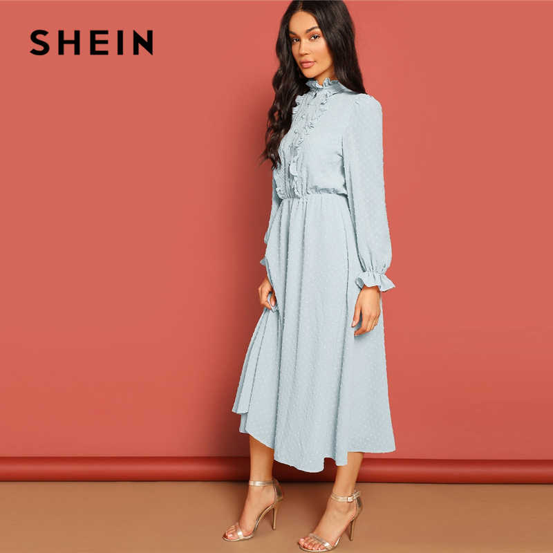 680712954f ... SHEIN Lace and Ruffle Trim Button Front Jacquard Dress Women Casual  2019 Summer Morden Lady Stand ...