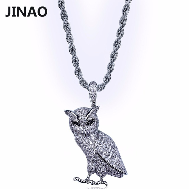 JINAO Gold/Silver Color Plated Iced Out Micro Pave CZ Stone Animal Owl Pendant Necklace Hip Hop Jewelry With 60cm Rope Chain