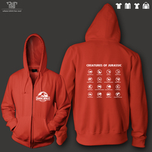 creatures of jurassic world dinosaur name chest logo men unisex zip up hoodie cotton fleece inside heavy hooded sweatershirt